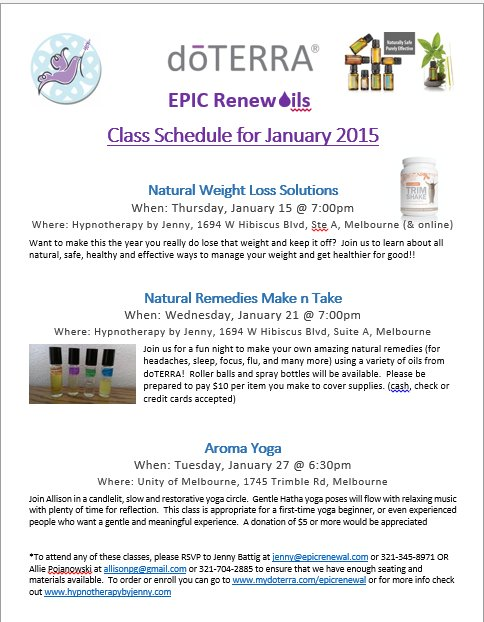 January class schedule » Hypnotherapy by Jenny